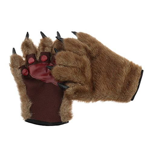 Baoblaze unisex erwachsene Halloween Cosplay behaarten Hände halloween Werwolf Fantasie Kostüm Wolf Handschuhe Bär Tier Pfote