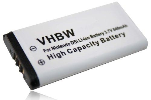 vhbw Akku passend für Nintendo DSi, NDSi Spielkonsole ersetzt Nintendo TWL-001, TWL-003, C/TWL-A-BP, BOAMK01 - (Li-Ion, 840mAh, 3.7V) (Nintendo Dsi-handheld)
