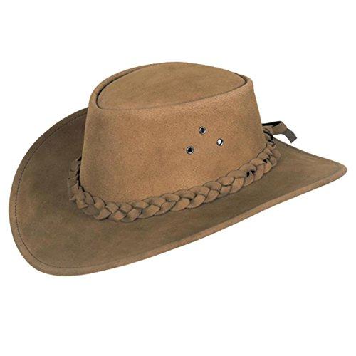 hut Queenslander aus Wildleder mit geflochtenem Hutband ()