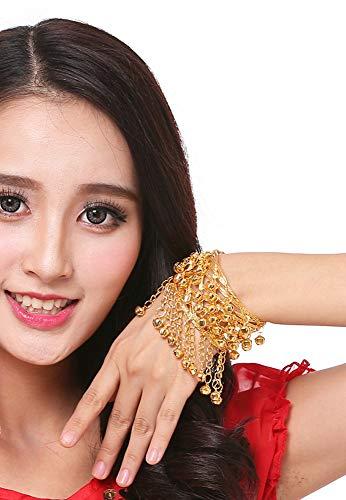 Grouptap Womens Gold Dance Arm Bell Armband Manschette Armreif für indische Bauch breite Metalldraht Spule Armband (Gold)