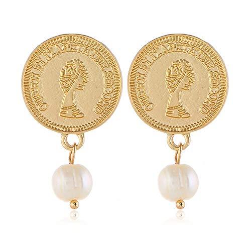 GRRNUY Antike Münzen personalisierte Briefe Ohrringe Gesicht Avatar Süßwasser Perle Ohr fallen