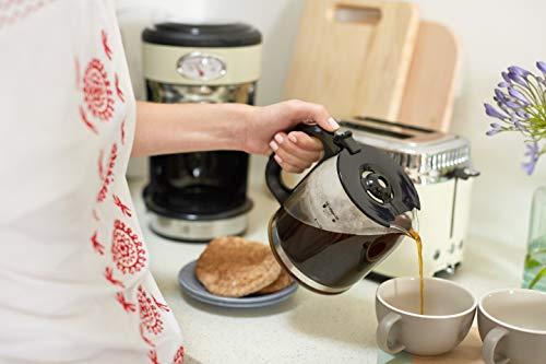 Russell Hobbs 21702-56 Glas-Kaffemaschine Retro Vintage Cream, 1.25l, Retro Brüh- und Warmhalteanzeige, 1000 Watt, creme