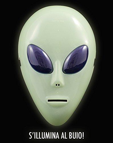 Girm® - s7323 maschera a forma di alieno fosforescente per halloween. maschera per feste, maschera fluorescente, maschera halloween, maschera alieno, travestimento halloween, maschere per party,