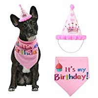 Mengqiy Pet Dog Happy Birthday Bandana Scarfs and Party Hat for Dog Cat, Soft Scarf & Adorable Hat for Party Accessory, Pet Birthday Gift Decorations Set