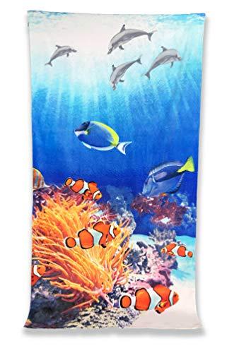 Strandtuch Reflektor Frottee groß cm.86x 160Aquarium Nemo
