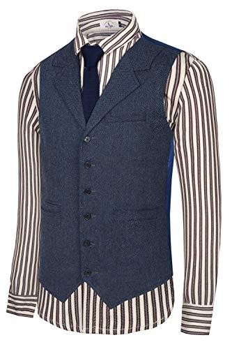 Hanayome Herren Gentleman Top Design Casual Waistcoat Business Suit Vest VS17 - Blau - Small(Etikett Brust 36