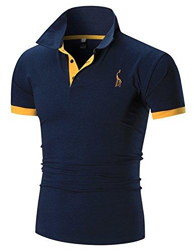 Boom Fashion Herren Poloshirt Beiläufig Kurzarm Stehkragen- Gr. XXL, Blau (1-streifen-polo)