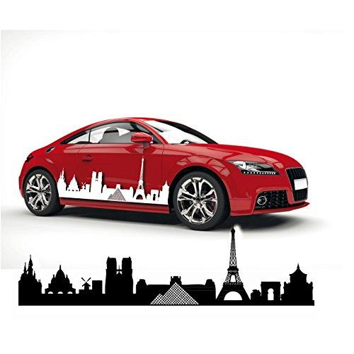 Silhouette Paris Car Tattoo Aufkleber Frankreich Hauptstadt Skyline Louvre Eiffelturm Notre Dame |SKI004 (Notre-dame-tattoo)