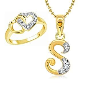 Buy vighnaharta hum tum heart ring with initial letter s pendant vighnaharta hum tum heart ring with initial letter s pendant gold and rhodium aloadofball Choice Image