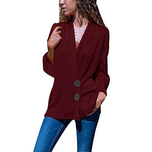 MYMYG Damen Sweatshirt Strickpullover Deep V-Neck Knöpfe für langärmliges Personalisiertes Hemd...