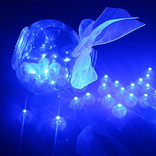 Rolin Roly 100 Stück LED Ballons Lichter Runde kugel Plastic Mini Round Ball für Party Halloween Weihnachten Dekoration (Blau)