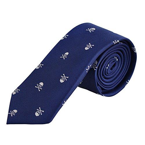 Alizeal - Corbata con diseño de calavera impresa, 6 cm de ancho, cuello delgado