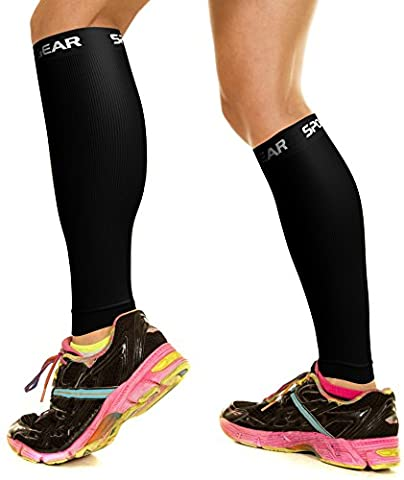 Calf Compression Sleeve for Men & Women, Best Footless Socks for Shin Splints & Leg Cramps, Runners Calves Circulation Remedy, Support Stockings, Running Gear, Basketball Lycra Tights - ALL BLACK