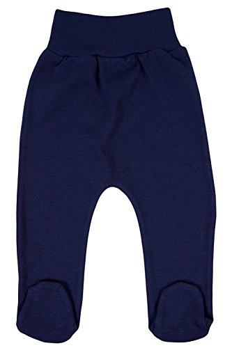 TLLC Footed Baby Girls Boys Leggings Trousers With Feet 100% Cotton (Navy Blue, 62cm (2-4 Months))