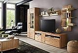 lifestyle4living Wohnwand in Eiche massiv | Design-Schrankwand mit Massivholz-Fronten | Moderne Anbauwand 4-teilig, ca. 340 cm breit