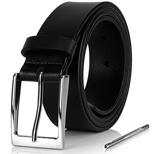 i-ZAGA Herren Gürtel, Dornschließe Herrengürtel Schwarz Ledergürtel für Männer - 35mm Breit - mit Geschenkbox (Schwarz, 115CM) Männer Gürtel