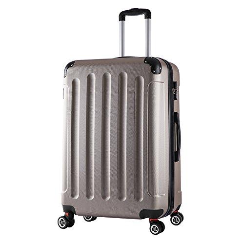 WOLTU RK4203ch, Reise Koffer Trolley Hartschale Volumen erweiterbar, Reisekoffer Hartschalenkoffer 4 Rollen, M/L/XL/Set, leicht und günstig, Champagne (XL, 76 cm & 110 Liter)