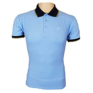 American Eagle Polo Shirts Tipped Mens Outfitters Cotton T-Shirts UK S-2XL (UK Large, Blue/Navy / Gold)