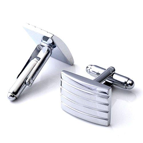 PiercingJ Stainless Steel Classic Men's Cufflinks, Silver Tone Strips