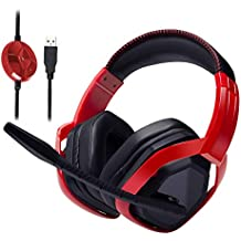 AmazonBasics Pro Gaming Headset with Microphone for PC, Red