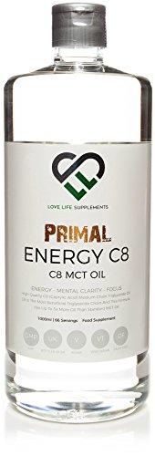 LLS Primal Energie C8 MCT Öl | 1000ml Flasche | 95% C8 Caprylsäure | Geeignet für Veganer, Vegetarier Diäten | BPA Freie Flasche | Produzieren in Großbritannien unter GMP-Lizenz.