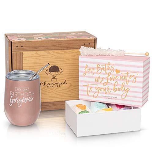 Happy Birthday Geschenk für Damen: Edelstahl Tumbler, Badebomben-Set, Süßigkeiten-Box für Sie