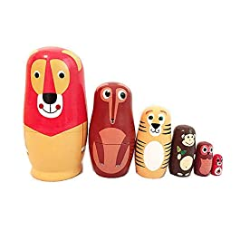 AOLVO Matrioska Matrioska Legno Stacking Nested Set 6 Pieces-Handmade Matryoshka Bambole Matrioska in Legno per Bambini Kids Christmas Home Decoration Halloween Wishing Gift