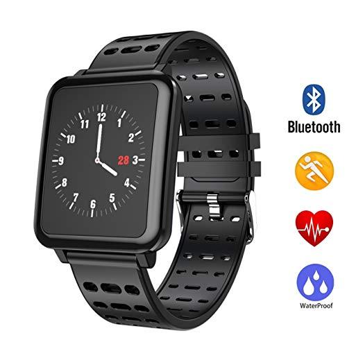 QTEC Reloj Inteligente Pulsera Inteligente Pantalla a Color Ejercicio Paso Contar Calorías de Ritmo Cardíaco para Relojes Deportivos Reloj Temporizador Hombre Impermeable