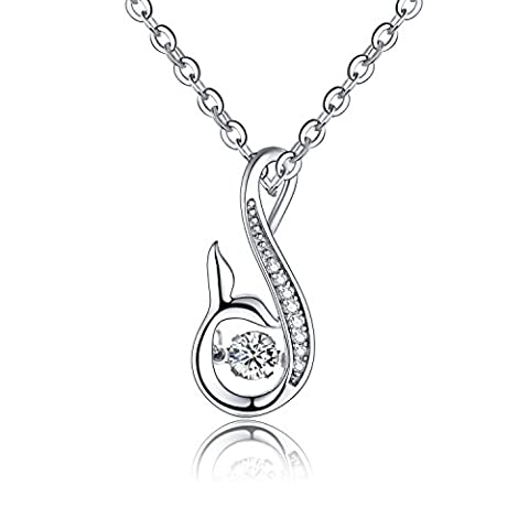 YH Jewelry 925 Sterling Silver Mermaid Tail Necklace Pendant White Gold Plated with
