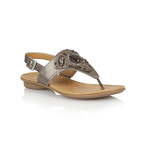 Naturalizer Womens D3855 Waverly Flat Toepost Sandal with Jewel and Metallic Embellishment...