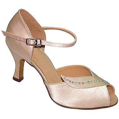 Scarpe da ballo-Personalizzabile-Da donna-Balli latino-americani / Jazz / Salsa / Scarpe da swing-Tacco su misura-Raso / Vellutato-Nero / nude