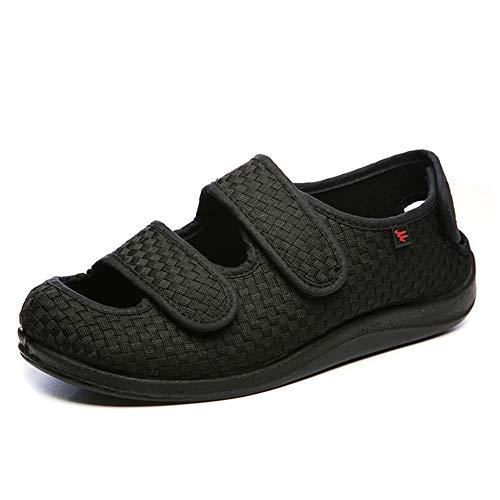 Willsky Zapatos diabéticos para Hombres, Espuma viscoelástica Zapatillas para ensanchar Velcro Ajustable Cómoda Red Artritis Edema Zapatos hinchados,38