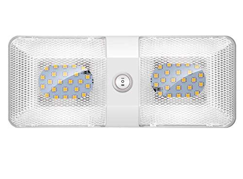 ShinePick 12V Lampade LED, Luci led da Interni Auto Plafoniera Tetttuccio Illuminazione Interna Auto Luce con Interruttore per Auto/RV/Camper/Camion/Rimorchio/Van/Barca (1 Pack)