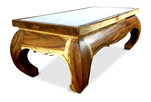 Großer Opiumtisch mit eleganter Elefantenschnitzerei, Asiatischer Couchtisch aus Massivholz der Marke Asia Wohnstudio, Asiatisches Möbelstück im Naturton. Asiatischer Couchtisch aus Massivholz - Asiatische Tischplatte