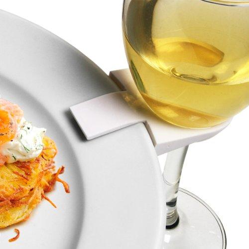 Weinglas-Clips für Teller–Set von 4| Buffet Dienstmädchen Clips, Stielglas Teller Clips
