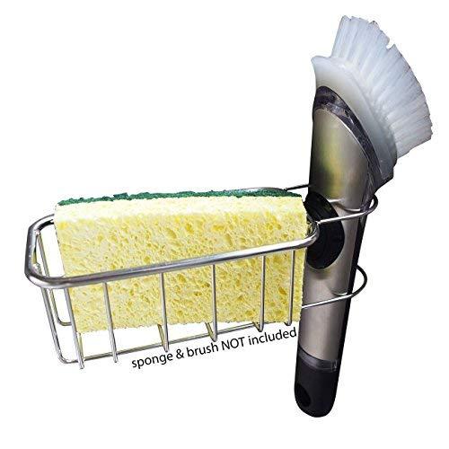 The Crown Choice Adhesive Schwammhalter Patentierte In Sink Pinsel Caddy Stainless Steel Organisation nicht fallen.Nein Absaug Magnetic Basket Für Schwämme,Schrubber,Geschirrbürsten 2in1 Schwammbürst