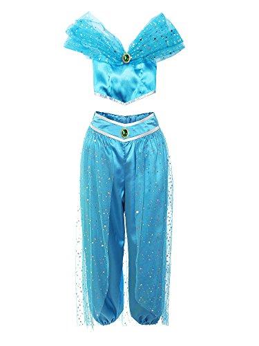 ReliBeauty -Fille - Ensembles de Pantalons décoré Paillette Set à épaule Nue de Danse Tenue de Princesse Jasmine Costume de coslay Halloween - 10-11 Ans, Bleu (140)