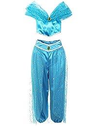 ReliBeauty –Fille – Ensembles de pantalons décoré paillette Set à épaule nue de danse Tenue de princesse Jasmine Costume de coslay Halloween