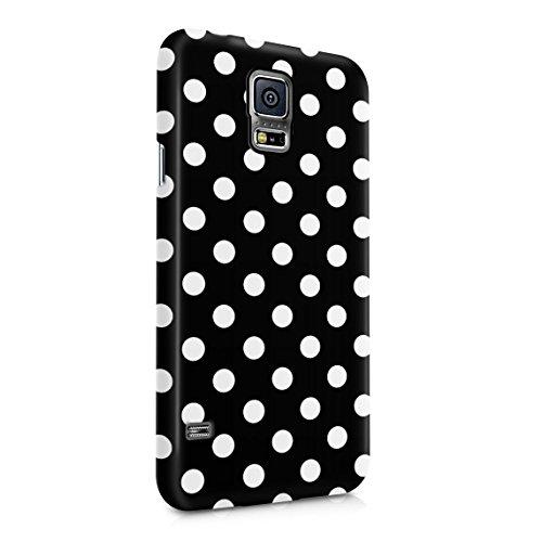 Black Polka Dots Pattern Dünne Rückschale aus Hartplastik für Samsung Galaxy S5 Mini Handy Hülle Schutzhülle Slim Fit Case Cover Dots Cover Case Snap