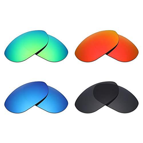 Mryok Polarisierte Ersatzgläser für Oakley Monster Dog Sonnenbrille - Stealth Black/Fire Red/Ice Blue/Emerald Green