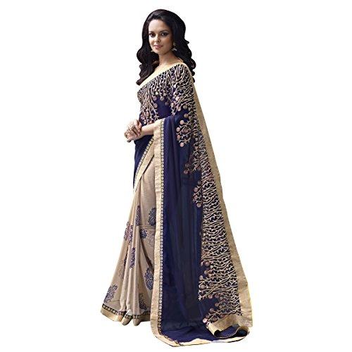 Triveni Sarees Georgette Artsilk Festival Wear Embroidered Traditional Sarees (Blue)