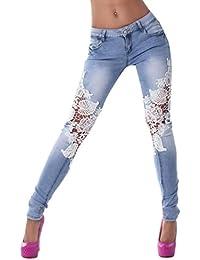 Zarupeng Damen Spitze Nähende Jeans, Frauen Dünne Bleistift Hosen Denim Hose 9e26005650