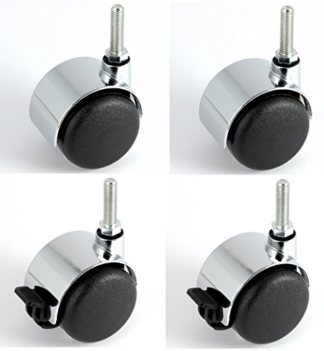 Satz Möbelrollen Chrom 50 mm Gewindestift M8 x 30 mm mit PU-Bereifung grau spurlos für harte Böden Hartbodenrolle je 2 Stück mit und ohne Bremse