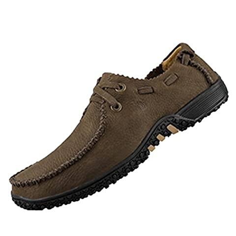 Spades & Clubs Leather Mens Fashion Casual Mocha Bean Sole Flat Walking Shoes Size 7 UK Brown