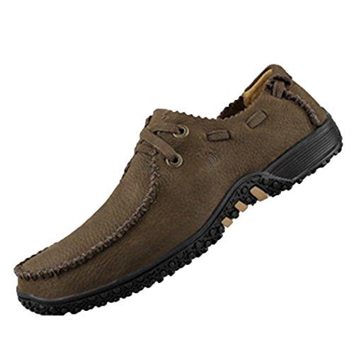 Spades et clubs en cuir pour homme Mode Casual Moka Pouf Semelle Plat Chaussures de marche Marron