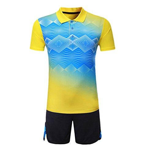 Kuncg Herren und Jungen Outdoor Sportswear Schnell Trocknende Badminton Kleidung Anzüge Gelb L