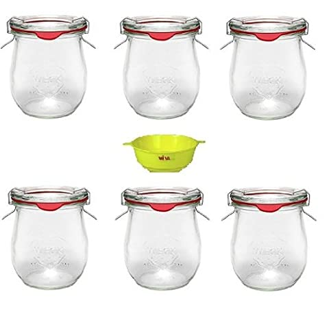 Viva Haushaltswaren - 6 x kleines Weckglas/Einmachglas 220 ml mit Deckel in in Tulpenform, leeres Rundrandglas zum Einkochen - als Vorspeisenglas, Dessertglas (inkl. Klammern, Ringen & Trichter)