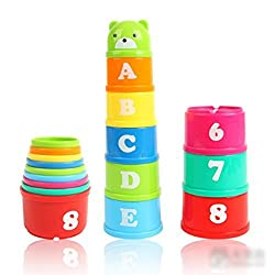 Tinksky Set Of Stacking Cups Non Toxic Discovery Toys Educational Baby Toddler Child Measure Up