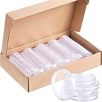 Hicarer 100 Piezas 40 mm de Cápsulas de Monedas de Plástico Funda de Moneda Redonda Contenedor para Materiales de Collección de Monedas con Caja de Papel