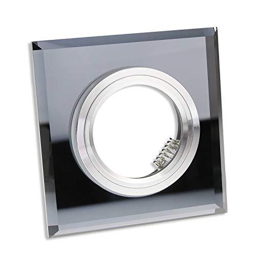 10x GU10 Einbaurahmen aus Glas - geeignet für LED und Halogen-Leuchtmittel - eleganter Look in gläserner Optik mit schwarzer Oberfläche, hochwertige Verarbeitung - Rahmen eckig Spot | schwarz - eckig -